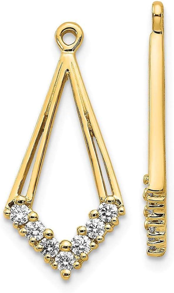 14K Yellow Gold AA Diamond Shaped Diamond Earring Jacket