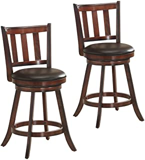 COSTWAY Bar Stools Set of 2, Counter Height Dining Chair, Fabric Upholstered 360 Degree Swivel, PVC Cushioned Seat, Perfect for Dining and Living Room (Height 24.5''-Set of 2)