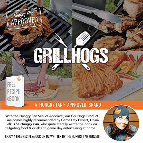 GRILLHOGS BBQ Basting Mop with Wooden Handle, Perfect for Barbecue Grilling, Designed to Absorb Sauce for Easy Brushing, Spreading & Glazing Evenly, 18 Inch, Includes 2 Bonus Mop Head Replacement