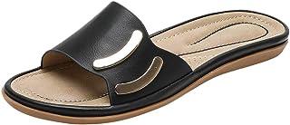 Women Open Toe Slipper Sandals, Ladies Solid Round Toe Slippers Flat Heel Sandals Beach Shoes