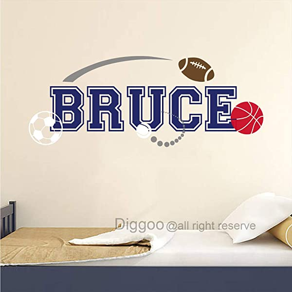 Sports Wall Decal Personalized Boys Name Wall Decal Baby Boy Nursery Decor Sports Wall Sticker Sports Theme Decor 23 H X 60 W Plus Free Welcome Door Decal