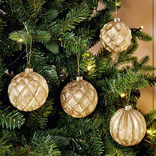 Dekoleidenschaft 4er Set Christbaumkugel Gold, Weihnachtskugeln aus Glas, Xmas Weihnachtsdeko, Weihnachtsbaumschmuck, Weihnachtsbaumkugeln