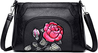 Fashion Women's Bags PU(Polyurethane) Crossbody Bag Embroidery Flower Red/Blushing Pink/Purple Lotus (Color : Red)