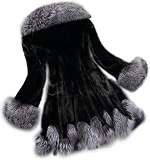 Fhillinuo Faux Fur Hooded Trim Layers Poncho Cape Sweater Cloak Coat for Women