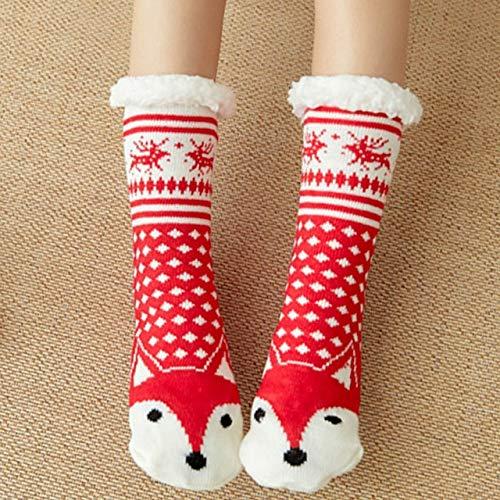 YDWZYS 1 Pairs Herbst Winter Frauen Cartoon Erwachsene Socken Verdickung PlusHause rutschfeste Schlafsocke Boden Warme Socken Weibliche One Size Red Fox