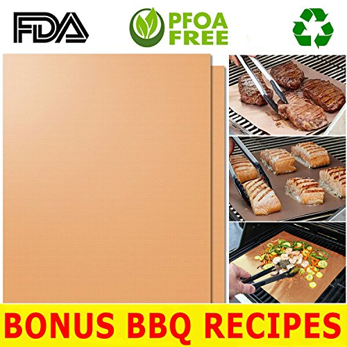 Hqs Copper Grill Mat Set Of 2 Non Stick Bbq Grilling Baking Sheets Golden Grill
