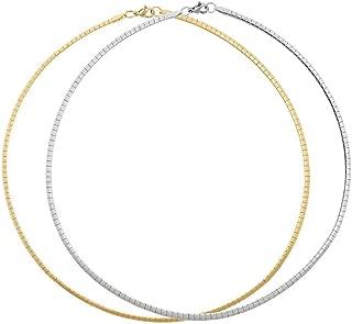 BOUTIQUELOVIN 2 PCS Stainless Steel Omega Necklace Flat Snake Chain Choker for Girls Women Man