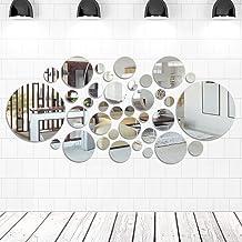 FOCCTS 16 stuks grootformaat spiegelplaten Eenvoudige moderne acryl spiegel Kunststof spiegel Zelfklevende vierkante TV ac...