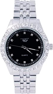 Men's Silver Classy Classic Dial Watch with Iced Out Bezel and Black Analog Display Dial