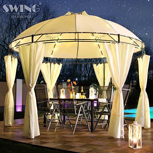Swing & Harmonie LED - Pavillon 350cm Lavo - mit Seitenwänden und LED Beleuchtung + Solarmodul Runder Gartenpavillon Partyzelt Gartenzelt Rund (Creme)