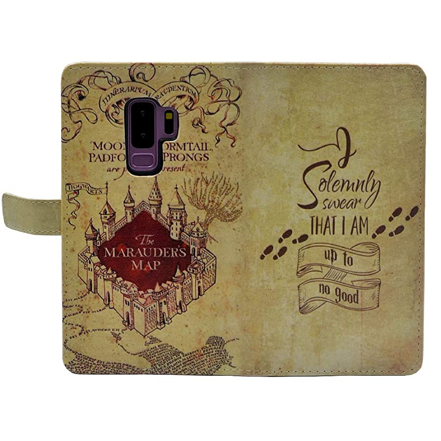 Galaxy S9 Plus Case, Hogwarts Marauder's Map I Solemnly Swear That I am up to no Good Slim Wallet Card Flip Stand Leather Pouch Case Cover for Samsung Galaxy S9 Plus
