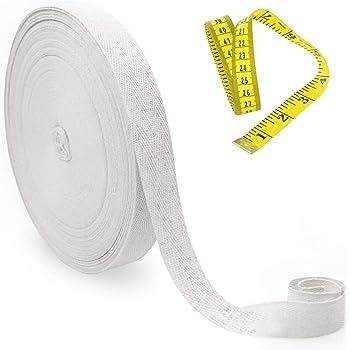 nbeads 1 Rouleau de 50m 0.59 Pouces de Large Cordon de Coton Plat Fum/ée Blanc pour Lacets Garniture Cordons Cordons Poign/ées