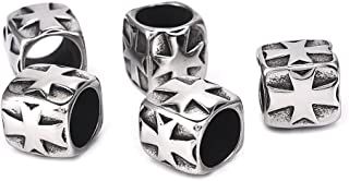 Stainless Steel European Beads Cross Spacer Beads for Religious Bracelet Jewelry Making 5PCS 8.4mm