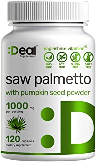 Saw Palmetto Supplement 1000mg with Pumpkin Seed Powder, Advanced Prostate Supplement, Healthy Urination Frequency, DHT Bl...