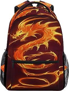 baihuishop Native American Wolf Backpacks Travel Laptop Daypack School Bags for Teens Men Women, Fire Dragon, one-size, La...
