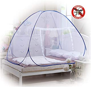 Bed Net Bed Canopy Camping Double Bed Portable Travel Home Foldable Pop Up Net King Bed Bottomed Netting Easy to Install Storage Bag(150200 150CM)