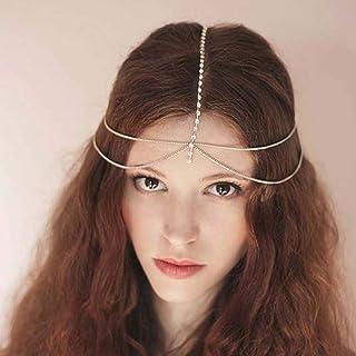 Evazen Boho Head Chain Gold Crystal Headpieces Hair Accessories Fashion Head Chain for Women and Girls