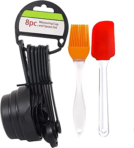 GAHI Popular Combo 8 Pcs Black Measuring Cups and Spoons Set Silicone Series Spatula and Brush Set
