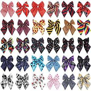 Segarty Dog Neck Bows, 30PCS Adjustable Pet Bowties Collar for Medium Large Dogs, Dog Bowknot Bow Neck Ties Costumes Grooming Accessories Neck Bows for Christmas Birthday Holiday Festival Party