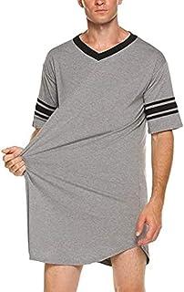 popchilli Camisón para Hombre Camisón para Hombre Más Ligero, más cómodo Camisón para Hombre Pijama hasta la Rodilla Vestido para Dormir Traje de Verano para Hombre