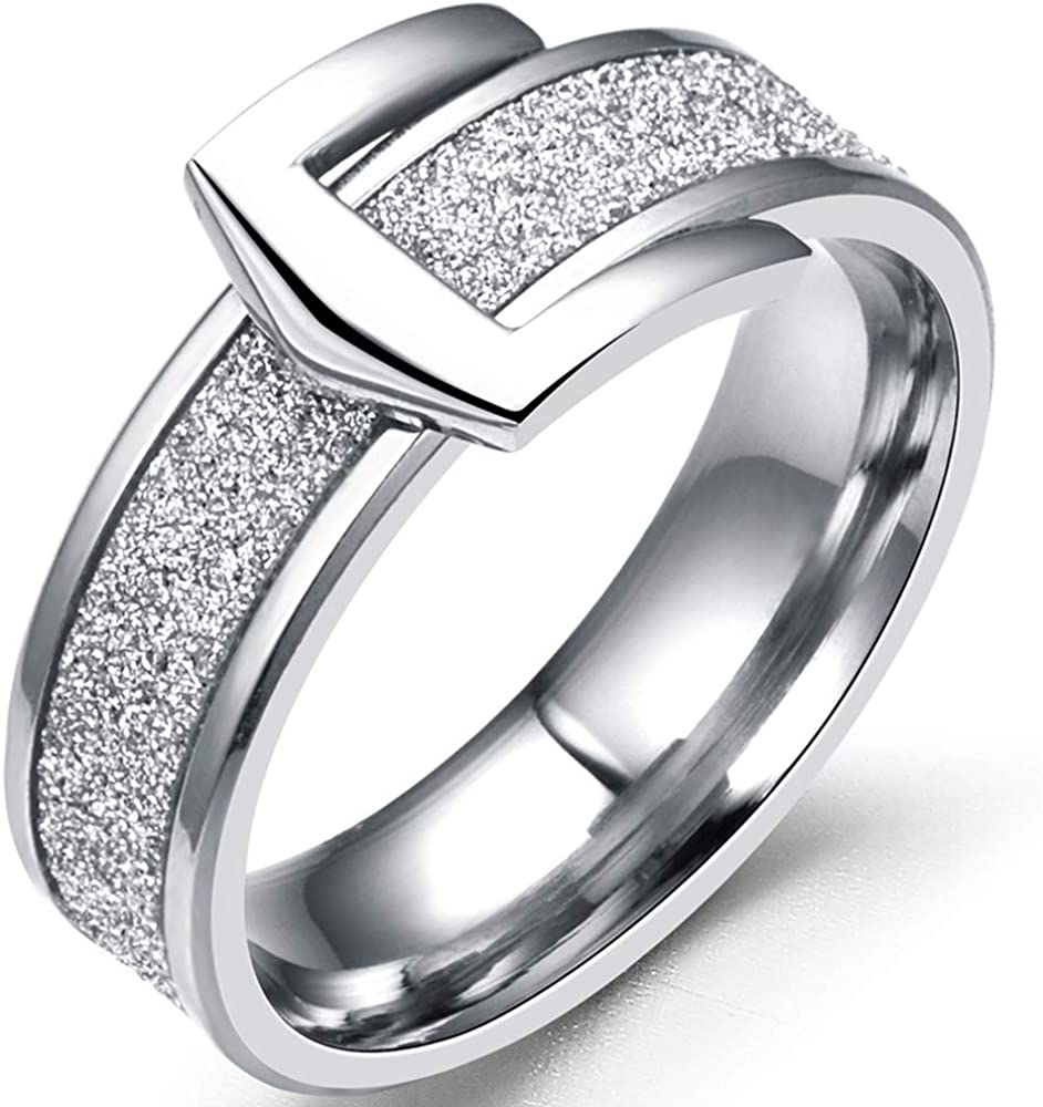 Jude Jewelers 6mm Stainless Steel Belt Buckle Style Wedding Band Ring