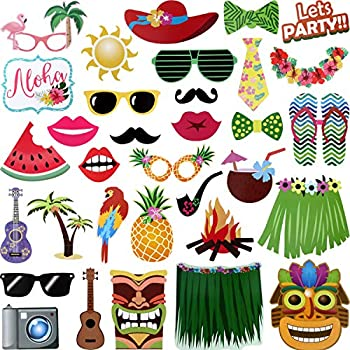 Jovitec 68 Pieces Luau Photo Booth Props Hawaiian Photo Booth Props Beach Tropical Tiki Summer Party Decorations Supplies  68 Pieces Luau Party