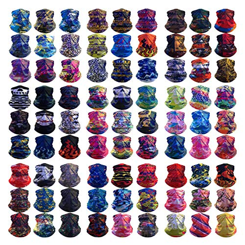 HCMY 12PCS Multifunctional Magic Scarf Outdoor Headwear Bandana Neck Gaiter Sports Tube UV Face Mask Shield Hiking Headband Elastic Resistence Reusable for Workout Yoga