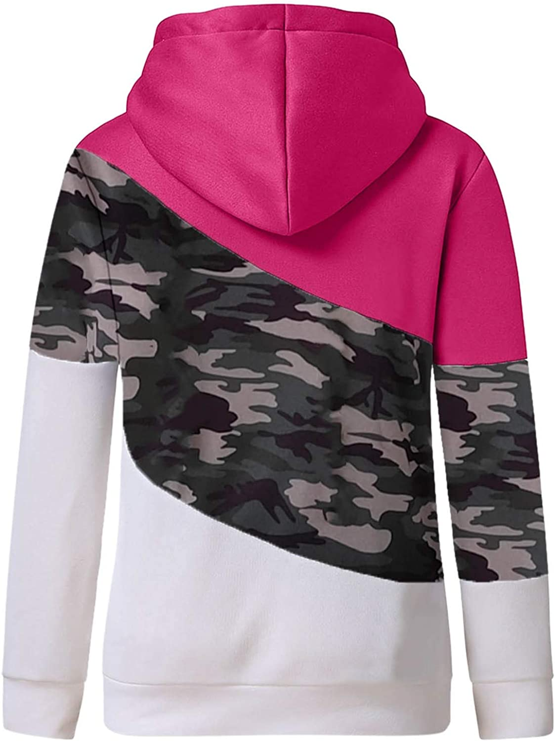 Hotkey Hoodies for Women Cowl Neck Long Sleeve Hooded Sweatshirts Camouflage Print Color Block Pullover Jumper Tops Blouse