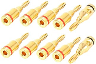 uxcell 10 x Red Black Gold Tone 4mm Banana Connector for Audio Video Speaker Cable