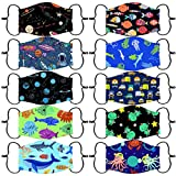 Reusable and Children Protective,10Pcs Facial Covering Face Màsc with Various Patterns for Kids, Washable Breathable Face Bandanas for Boys and Girls (10 Pattern Combo A)