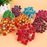 200pcs Mini Weihnachten Dekoration Künstliche Frucht Beere Holly Blumen - Rot - 9