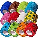 CK-Shop® 12er Pack Selbstklebender Verband für Haustiere, Kohäsive Fixierbinde, elastischer Fixierverband, Haftbandage - 5 cm x 4.5m [12er Pack]