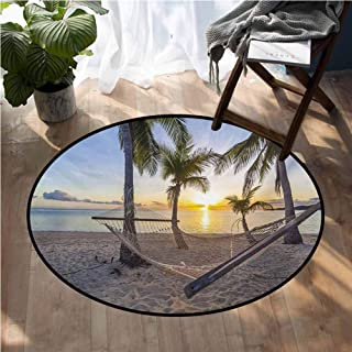 Tropical Bath Rugs for Bathroom Paradise Beach with Hammock and Coconut Palm Trees Horizon Coast Vacation Scenery Outdoor Kitchen Room Floor Mat D60 Inch