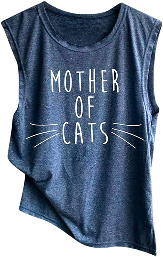 KYLEON Tank Tops for High material Women Sleeveless We OFFer at cheap prices Cats Cute of Summer Mother