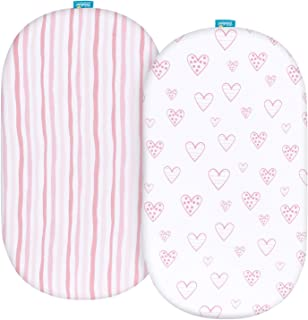 Bassinet Fitted Sheets Compatible with Dream On Me Karley Bassinet, 2 Pack, 100% Jersey Knit Cotton Fitted Sheets, Breatha...