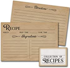 Oh Boy Love It 50 Recipe Cards - Tan Vintage Style | 4 x 6 inches, Double Sided with Recipe Box Sticker | Bridal Shower, House Warming Gift