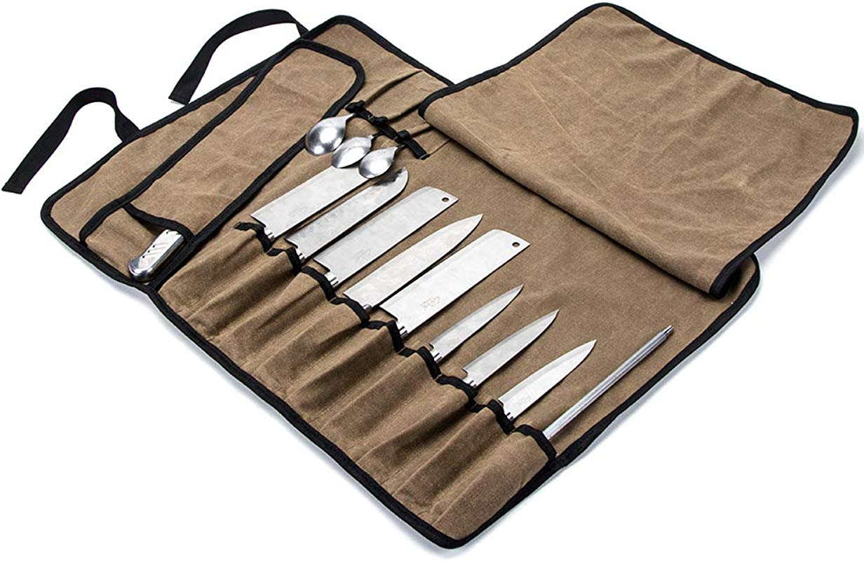 Chef S Knife Roll Bag Multi Purpose Chefs Knife Case Waterproof Waxed Canvas Cooks Tool Storage Bags Versatile Cutlery Knives Holders With 13 Pockets And Sholder Strap CYGJB345 A
