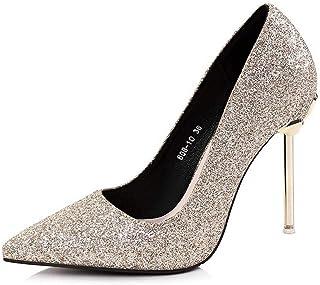 Ying-xinguang Shoes Fashion Sexy Single Shoes Sequin Metal with Slim High Heels Wedding Shoes Women's High-Heeled Comfortable