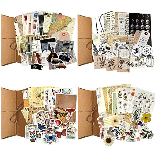 120 Pieces Vintage Scrapbooking Stickers DIY Journaling Scrapbook Adhesive Washi Paper Stamp Stickers Antique Retro Natural Collection Stickers Diary Journal Embellishment Supplies