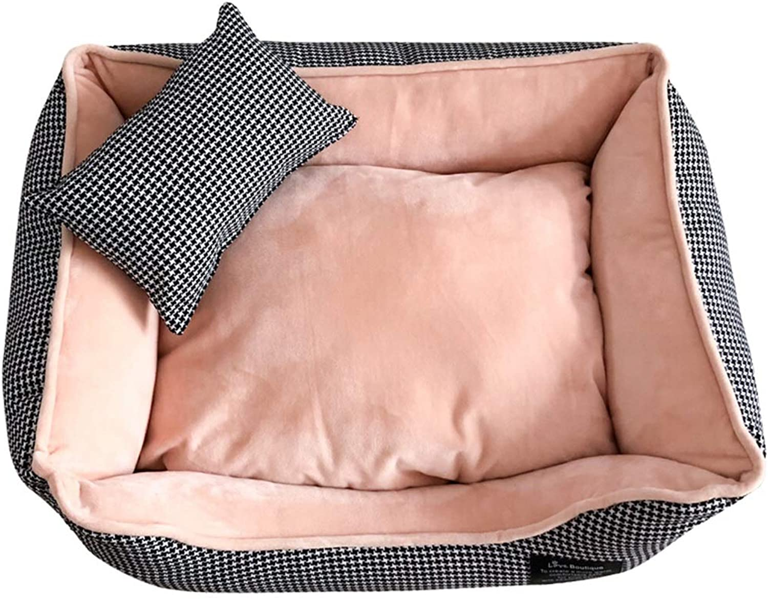 DSADDSD Pet Bed Kennel Keep Warm Small Dog Washable Square Comfortable Pet Supplies (color   2 , Size   S)