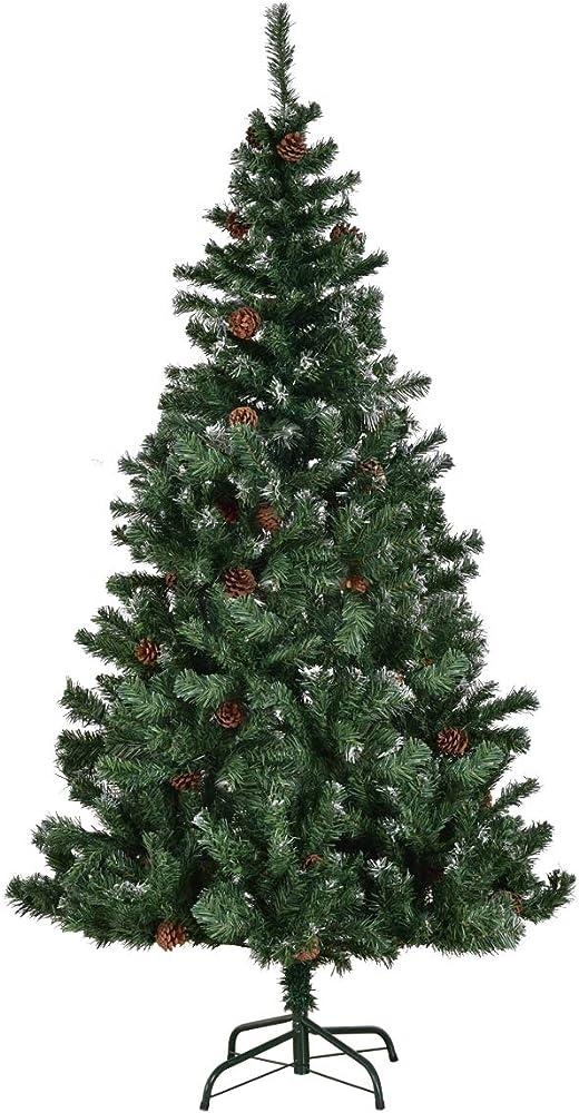 Goplus albero di natale automatico verde pvc supporto in metallo 150-210cm con pigne con vernice neve (210)