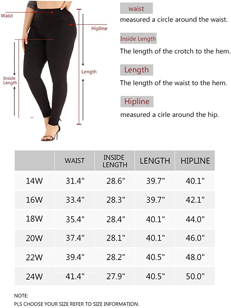 ALLEGRACE Women's Plus Size Pants Pull-on High Waist Casual Office Skinny Pants with Pockets