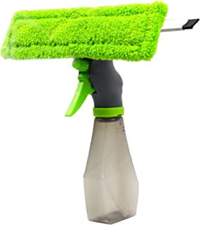 Prettyia 3-in-1 Rubber Squeegee Microfibre Cloth Pad Window Cleaner Bottle Spray Tool for Indoor and Outdoor Glass Cleanin...