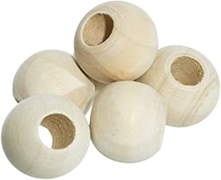 20 Pack of 1 Inch Natural Wooden Round Ball Spacer Beads - Charms for DIY Crafts