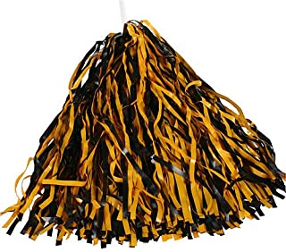 Black & Bright Gold Spirit Pom Poms
