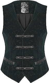 Punk Rave Mens Vest Waistcoat Green Damask Velvet Goth Steampunk Aristocrat VTG