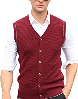 Zhhlinyuan Mens Middle-Aged Business Sleeveless Knitted Vest Waistcoat Gilet