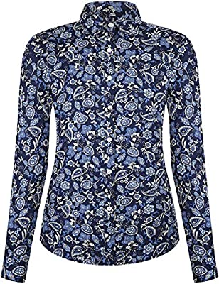 DOKKIA Women's Tops Vintage Casual Shirts Cotton Long Sleeve Work Button Up Dress Blouses
