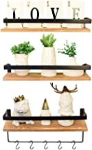 Creativefine Floating Shelves Wall Mounted Set of 3, Rustic Solid Wood Wall Shelf for Bedroom, Living Room, Kitchen (Pine)