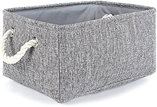 TheWarmHome Small Storage Basket Linen Storage Bins for Toy Storage,Grey
